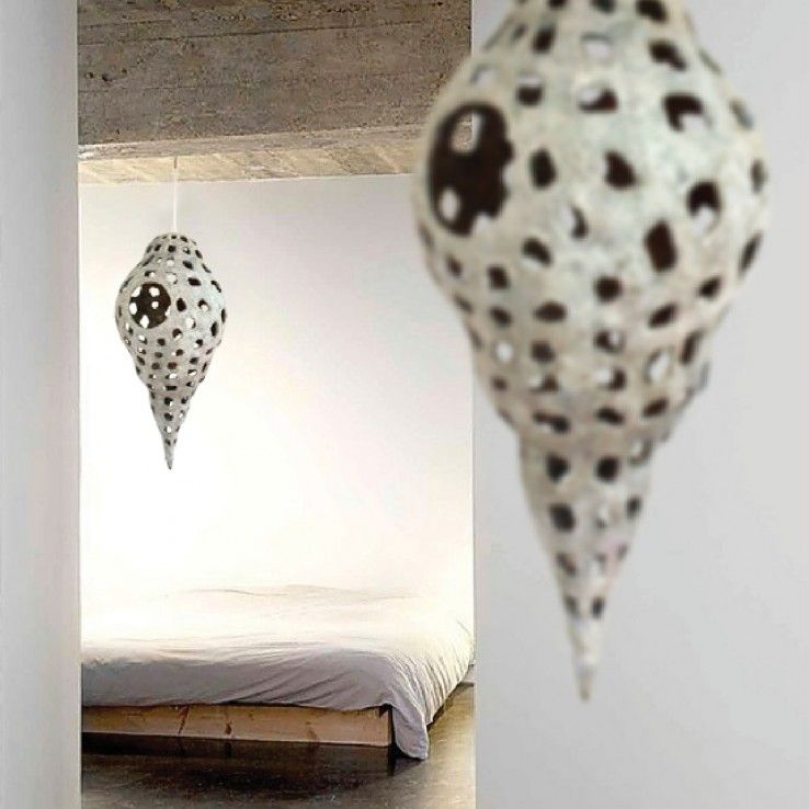 Lamp is made of paper pulp
