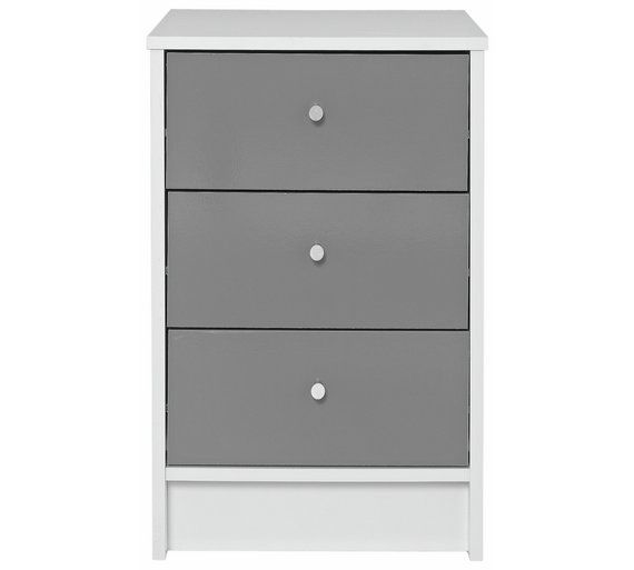 low priced 2722d 78262 Home Malibu White & Grey Gloss 3 Drawer Bedside Chest ...