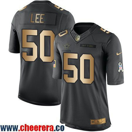 Men's Dallas Cowboys #50 Sean Lee Anthracite Gold 2016 Salute To  for cheap