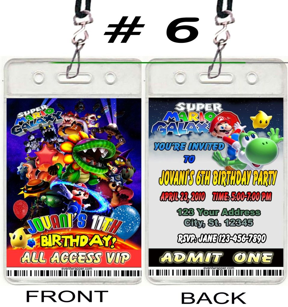 Details about SUPER MARIO BROS GALAXY KART BIRTHDAY PARTY – Mario Kart Party Invitations