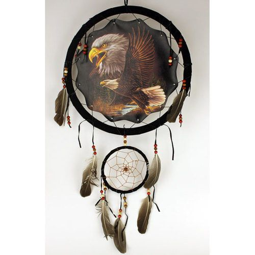 Free  shipping! Eagle Dream Catcher with beads/feathers
