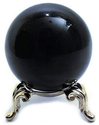 Black Divination Sphere Crystal Ball with Stand 50mm Amlong Crystal 2
