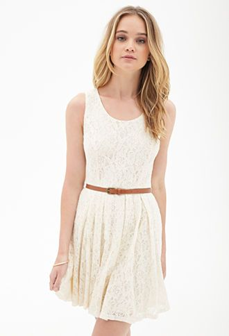 Belted Crochet Lace Dress Lace Dress With Sleeves Lace White Dress Lace Dress Forever 21