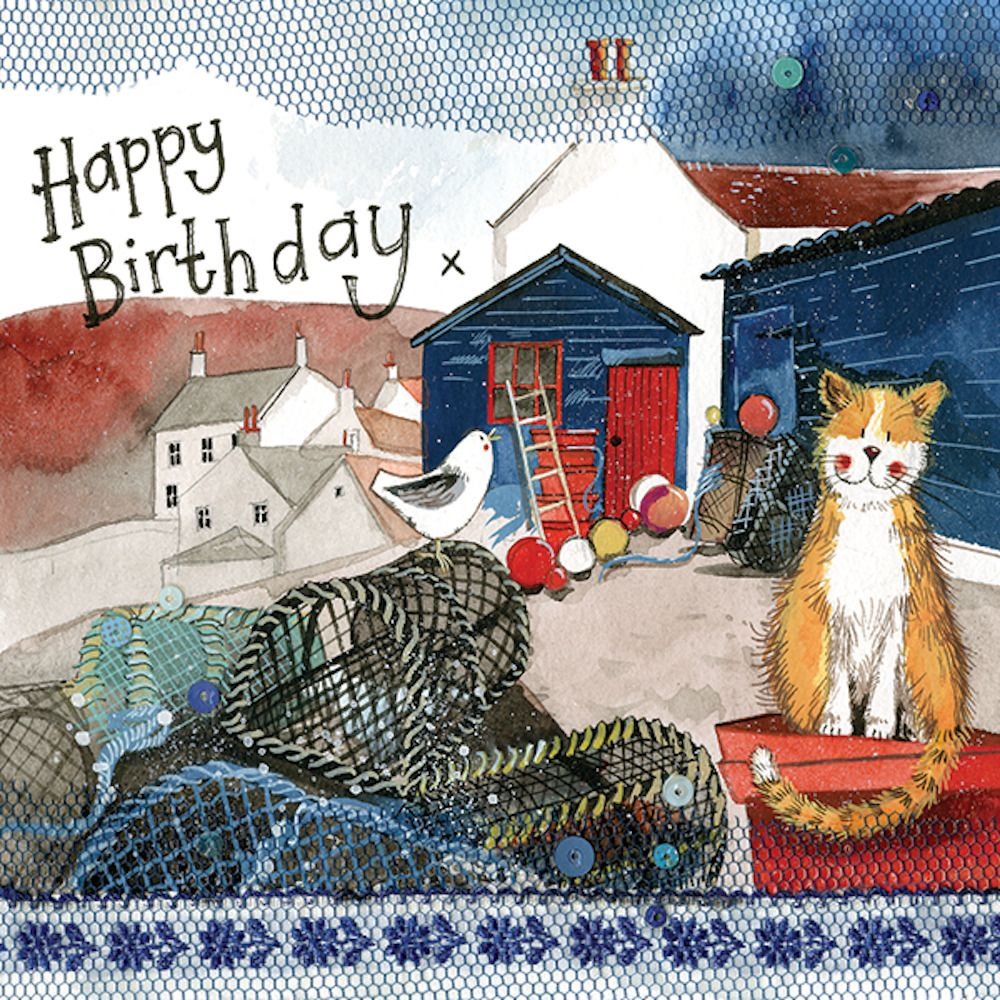 Alex Clark Harbour Cat Birthday Greeting Card Cat Lovers Glitter /& Sparkle Gift