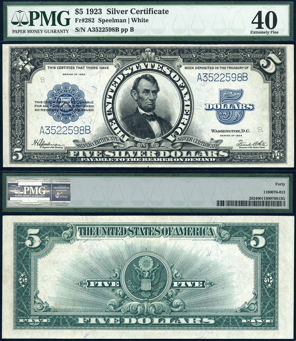 1923 5 silver certificate the porthole note fr 282 pmg ef40 1923 5 silver certificate the porthole note fr 282 pmg ef40 large size xflitez Gallery