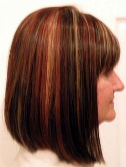 Womens medium length slight a line haircut dark brown with copper womens medium length slight a line haircut dark brown with copper and blonde highlights pmusecretfo Image collections