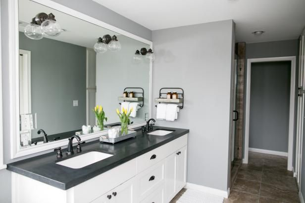 The newly added master bath has black granite countertops ... on Bathroom Ideas With Black Granite Countertops  id=56911