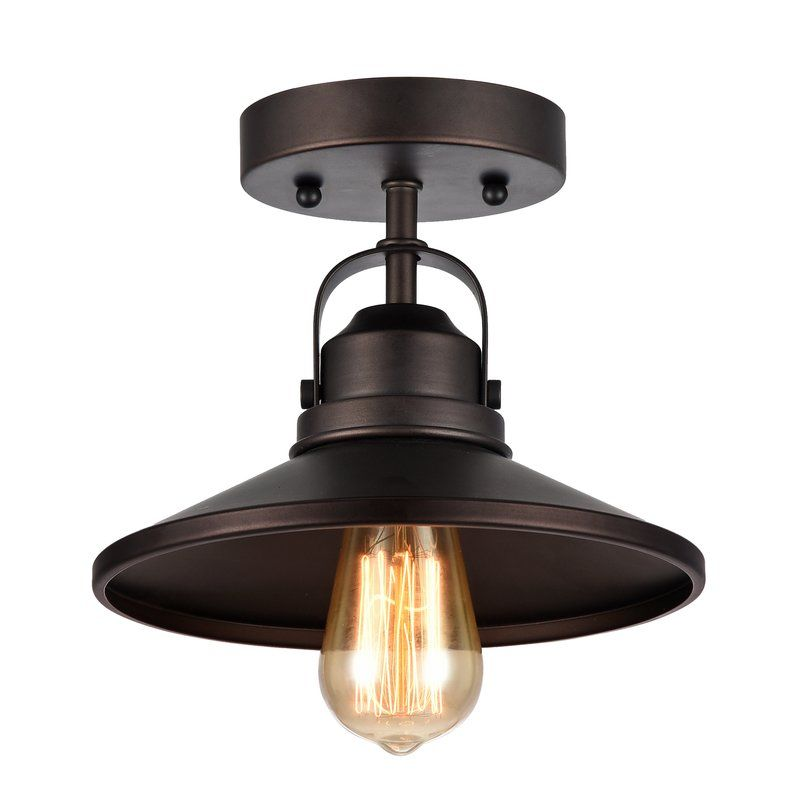 Bouvet 1 Light 8 8 Simple Cone Semi Flush Mount Flush Mount Lighting Ceiling Fixtures Industrial Light Fixtures