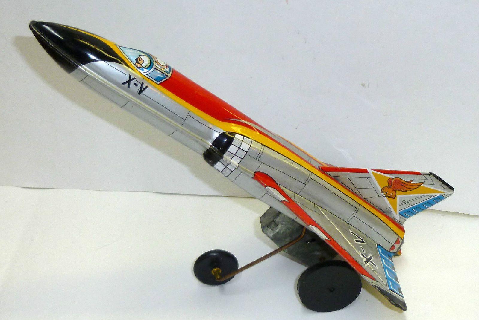 Vintage Tin Japanese Yone Eagle Jet Fighter Press Action Friction
