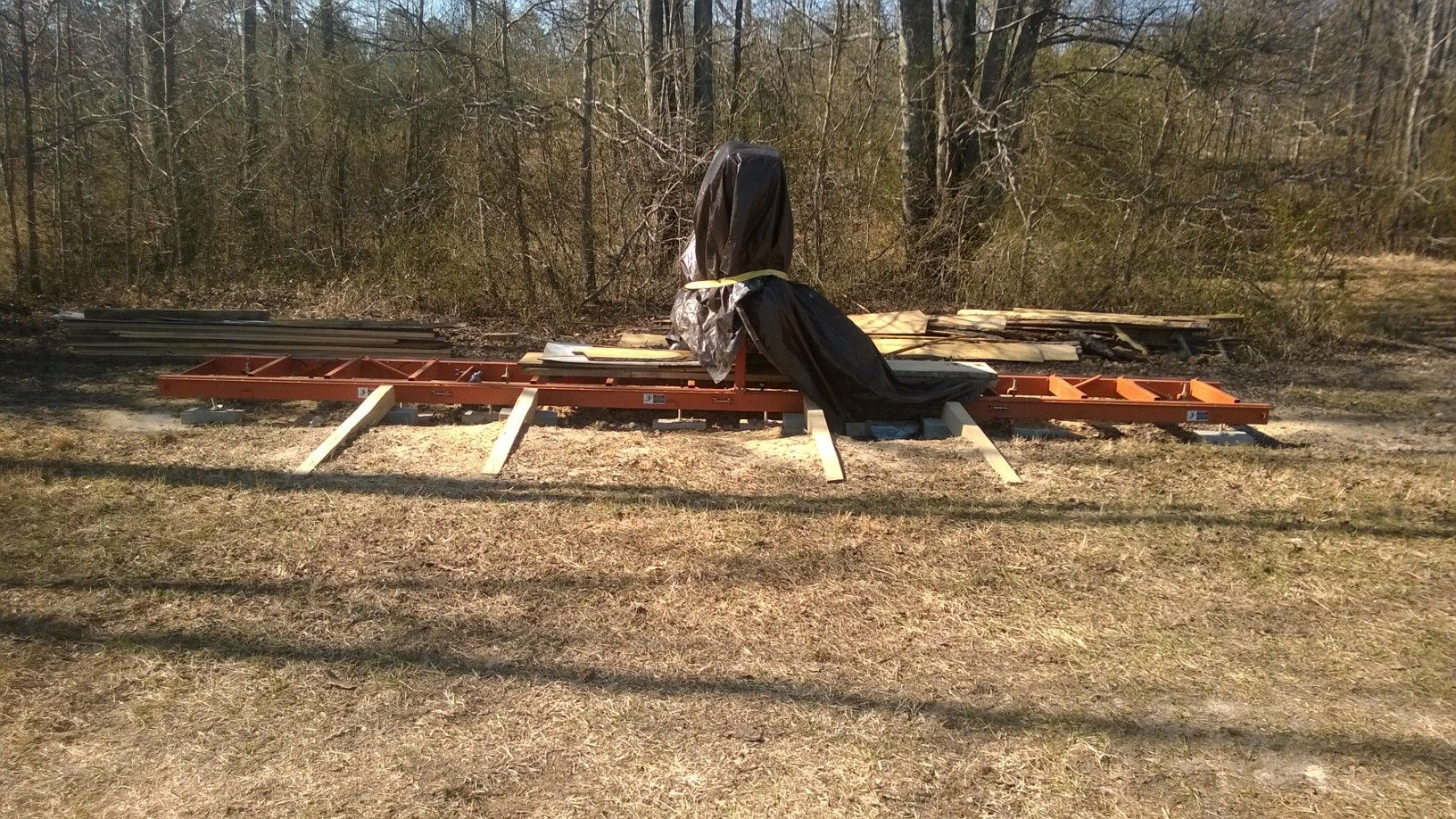 here are my new oak log loading ramps they make rolling logs onto