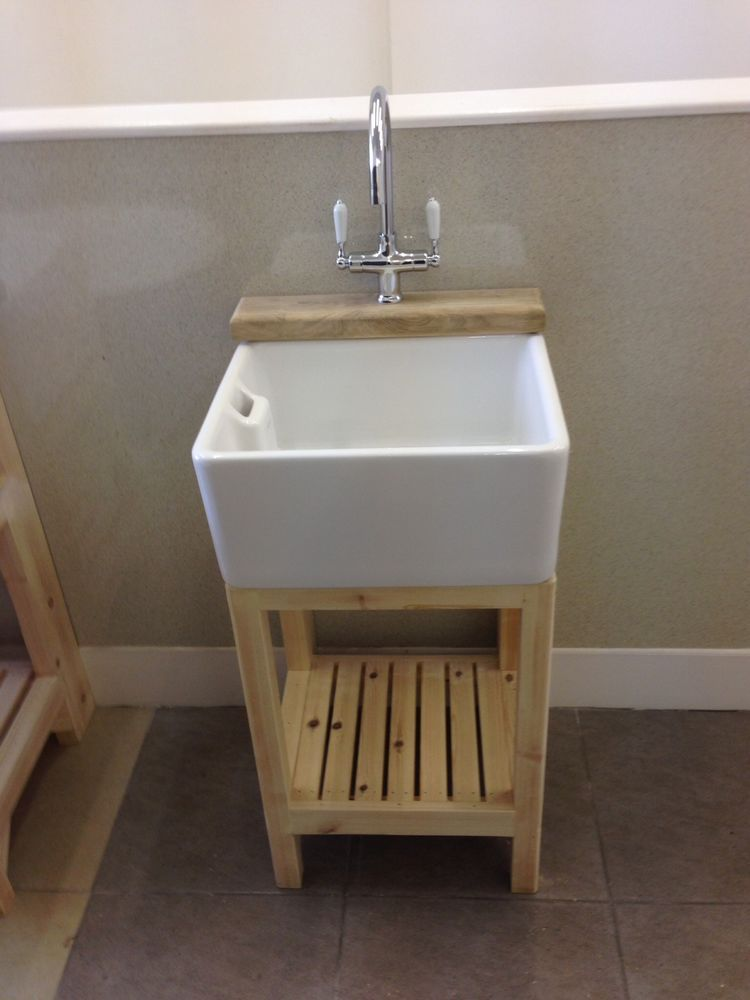Good Baby Belfast Sink , Pine Stand U0026 Ledge , Lever Taps U0026 Waste   Brand New