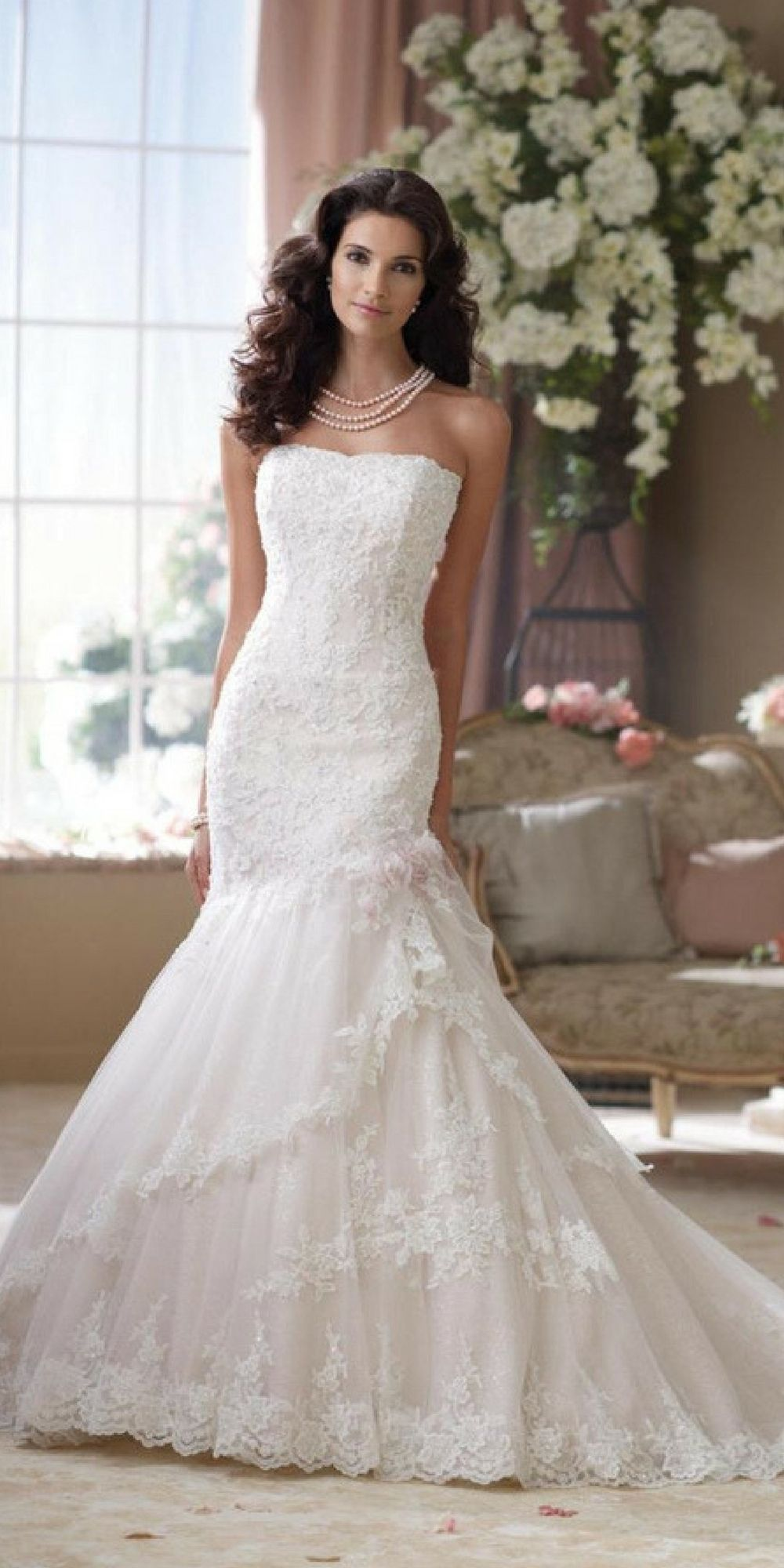 Embroidered lace wedding dress  Strapless handbeaded reembroidered lace trumpet gown with soft