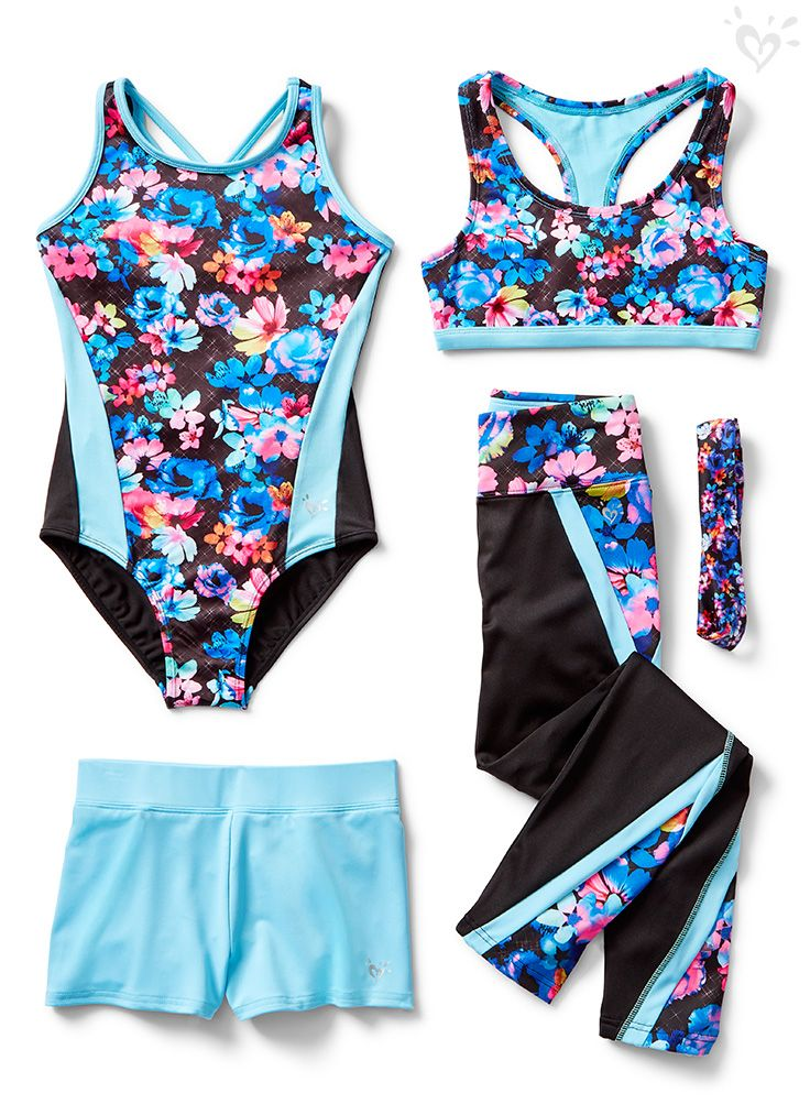 92c8e7bb2236e Watch her talent bloom in gymnastics gear that s bursting with colorful  style. Shop our leotards
