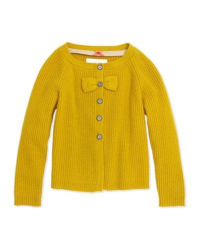 Z1A3P Burberry Cashmere Cardigan with Bow, Yellow Quartz, 4Y-14Y