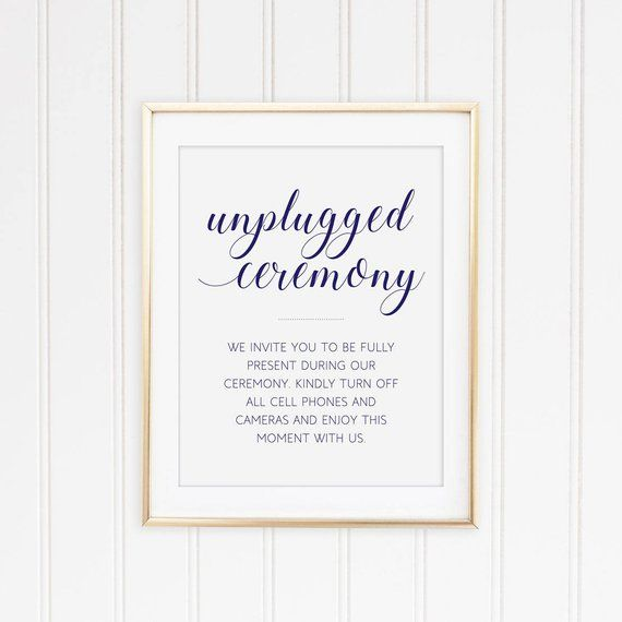 No Ceremony Just Reception: Navy Blue Unplugged Sign, Printable Wedding, Unplugged