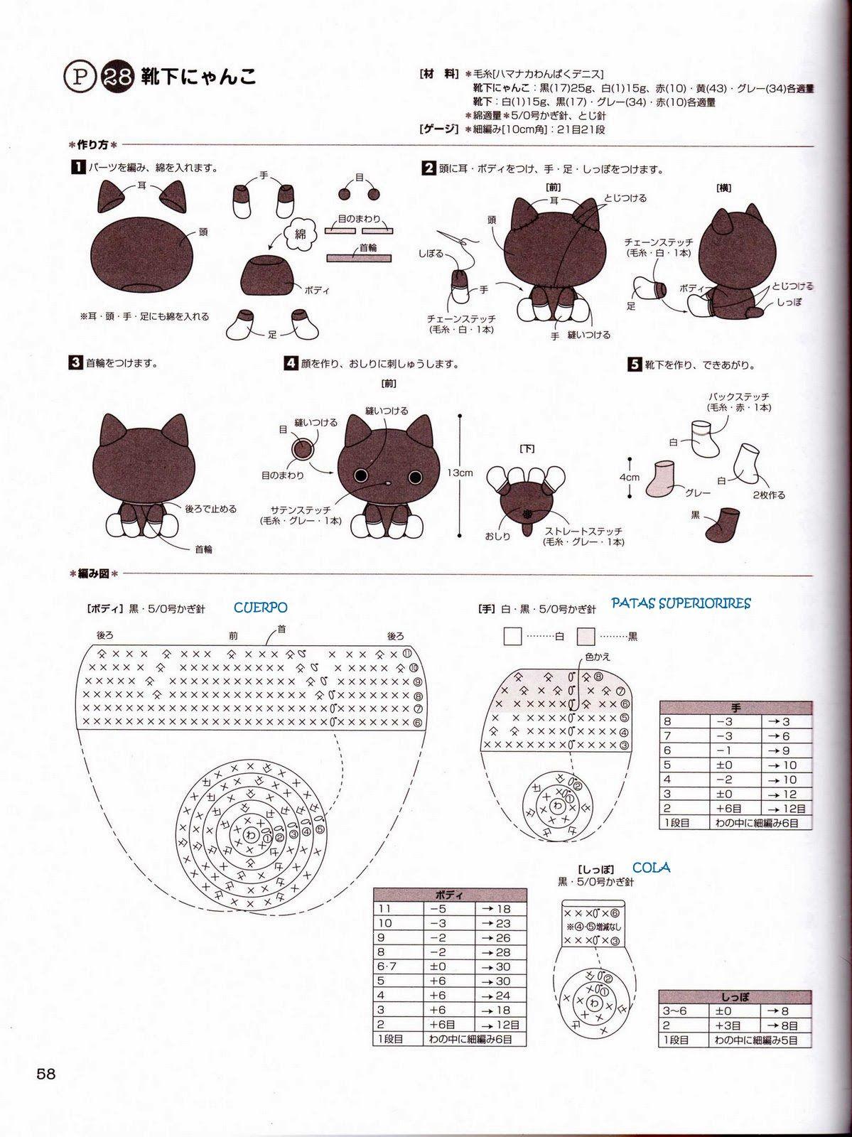 gato+amigurumi+patron+1.jpg (1199×1600) | amigurumis | Pinterest ...
