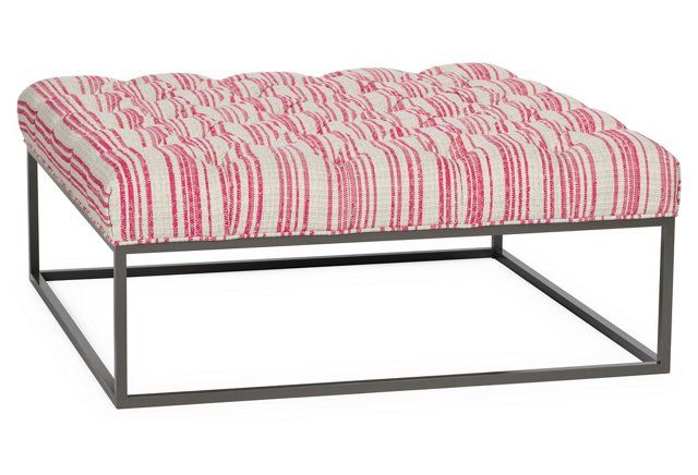 Lynley Cocktail Ottoman, Pink Stripe | CT Townhouse | Pinterest