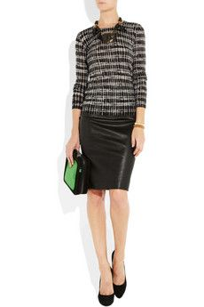 sleek leather pencil skirt and statement jewels