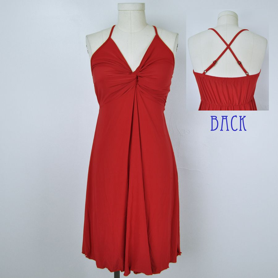 Silky smooth drapey u flattering twist front short dress