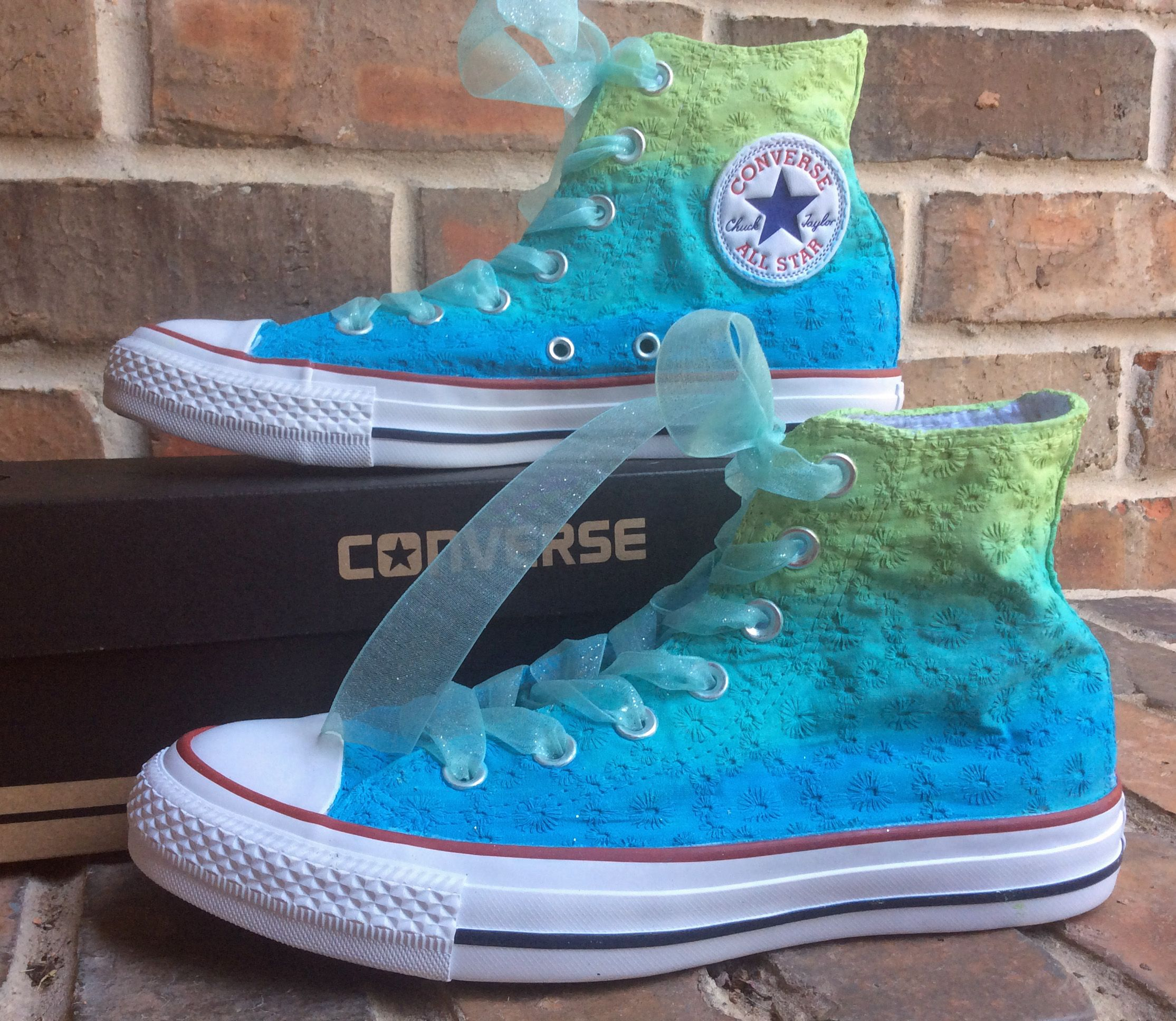 aqua to green ombre converse | Converse, Painted shoes