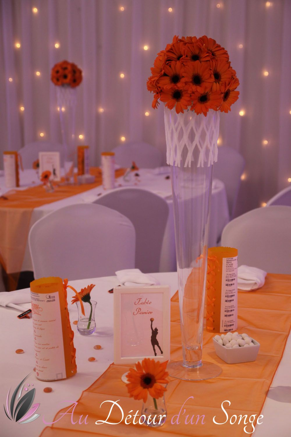 D Coration De Mariage Th Me Basket Ball Orange Blanc Wedding Decoration Theme Basket Ball