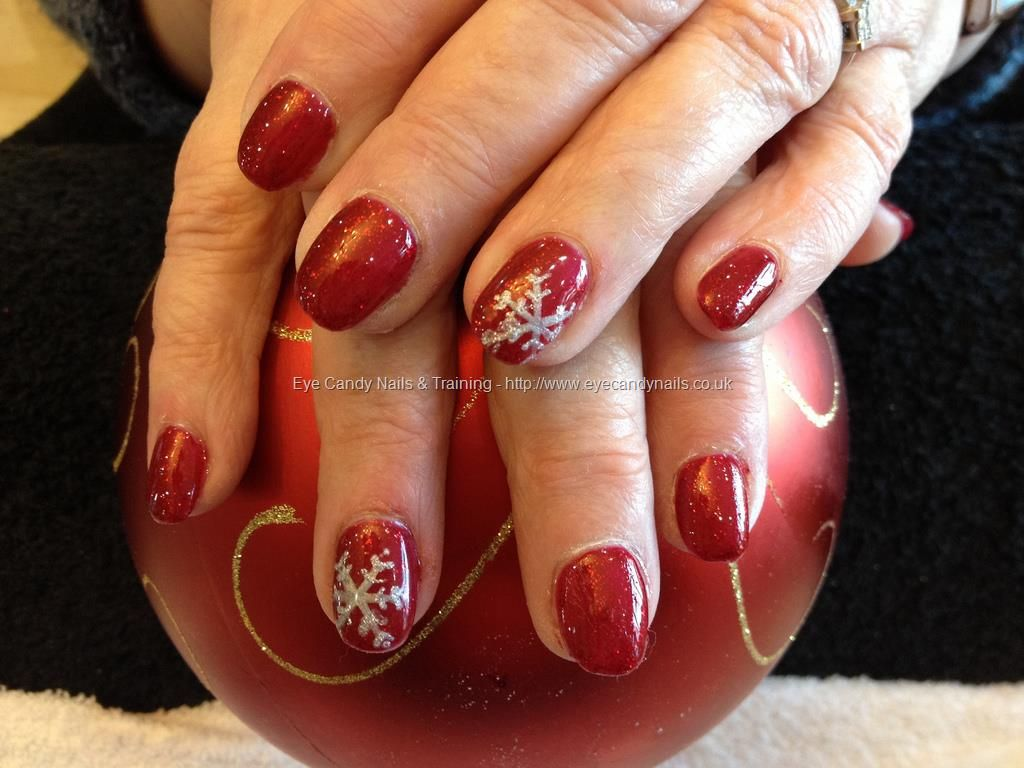 Eye Candy Nails Training Acrylic Overlay With Red Glitter Gel And Silver Snowflakes By Nicola Senior On 17 December 2017 At
