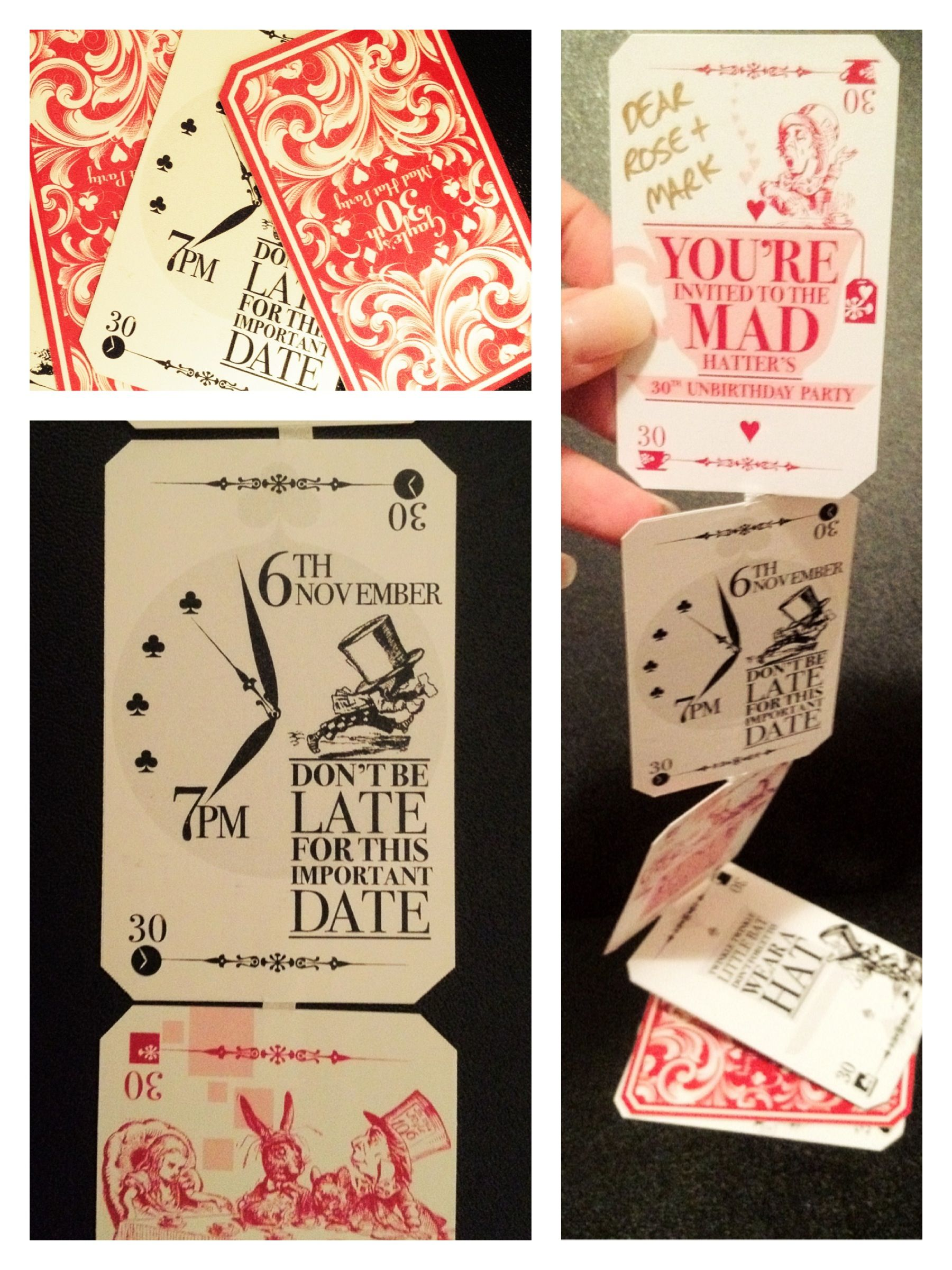 mad hatter teparty invitations pinterest%0A A pack of cards for a   th Invitation for a Mad Hatter u    s tea party