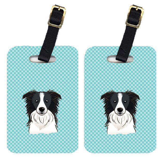 Pair of Checkerboard Blue Border Collie Luggage Tags BB1179BT