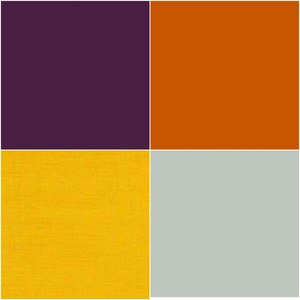 Purple, orange, yellow and gray color scheme