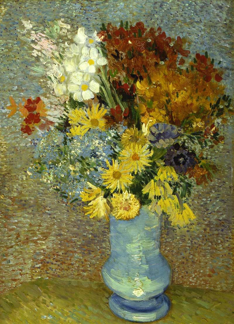 Flowers in a blue vase vincent van gogh van gogh