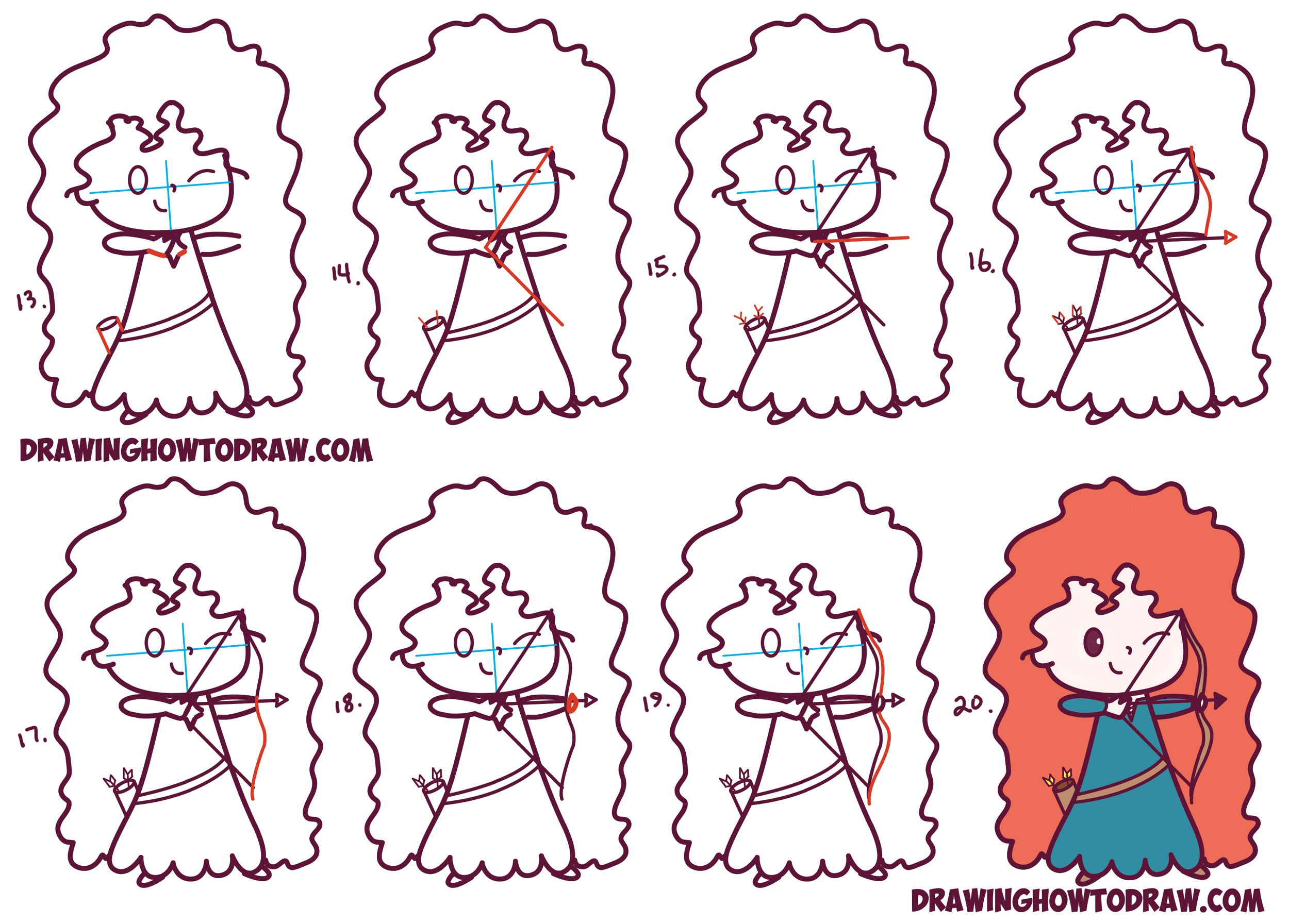 How to Draw Cute Kawaii Chibi Merida from Disney Pixar\'s Brave in ...