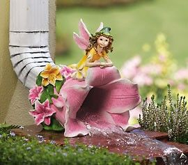 Fairy On Lilly Outdoor Downspout Decorative Downspouts Downspout Fairy Garden