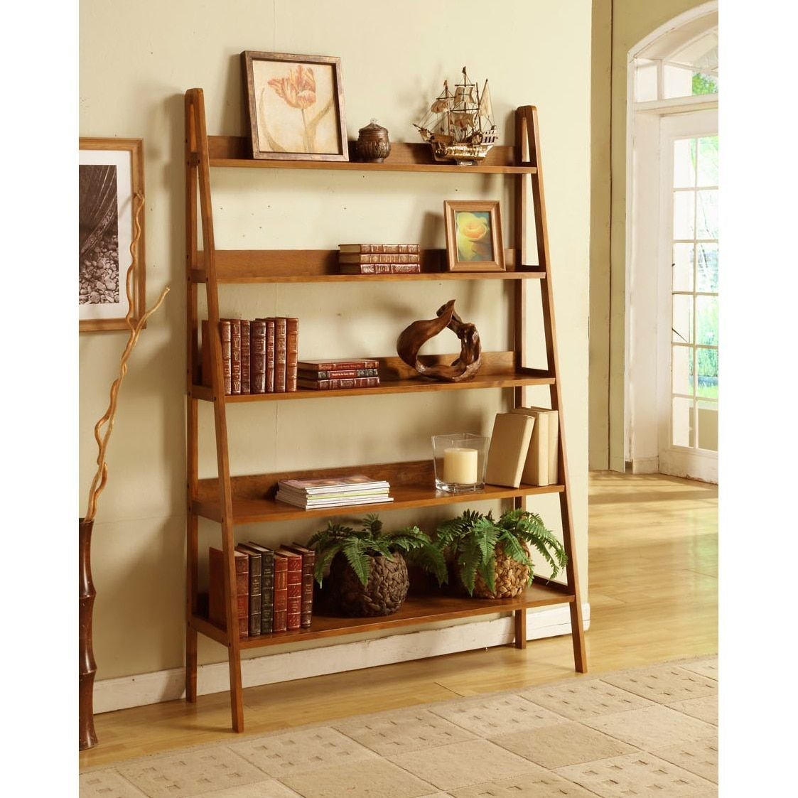 Contemporary Mahogany Leaning Ladder 5 Tier Bookcase Finished 48 Wide Wooden A Shelf Yellow