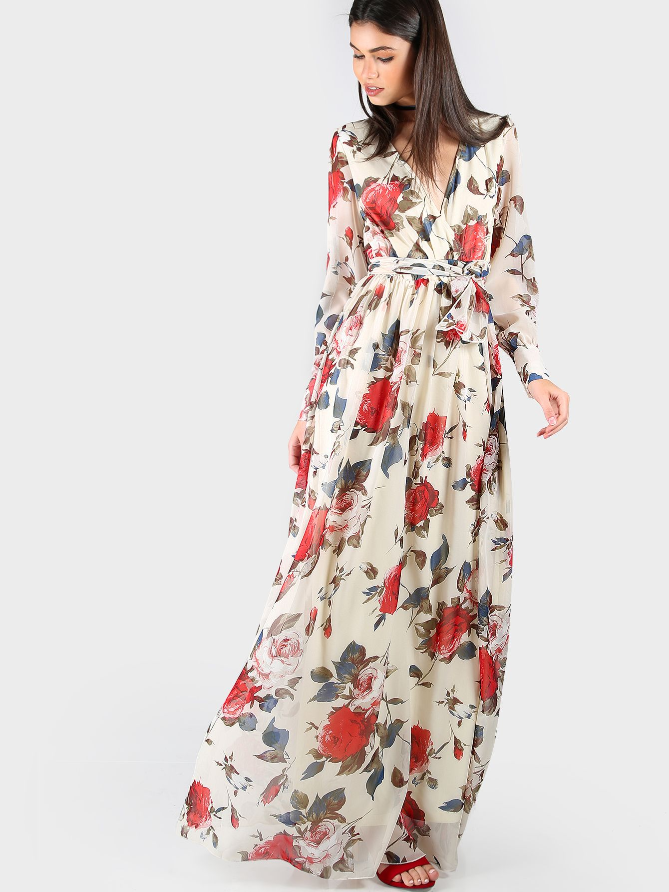 Online shopping for floral print chiffon maxi dress cream from a