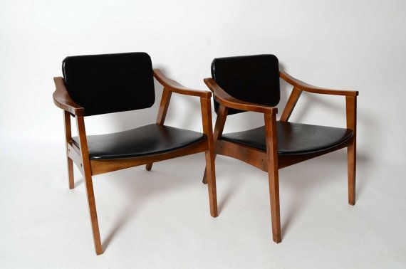 Arm Chairs Black Naugahyde mid century modern 1960 on hold ...