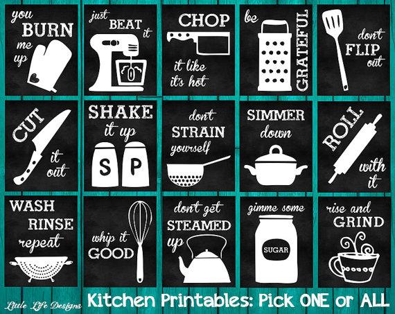 Kitchen Utensils Art kitchen decor. kitchen utensil decor. kitchen wall art. funny