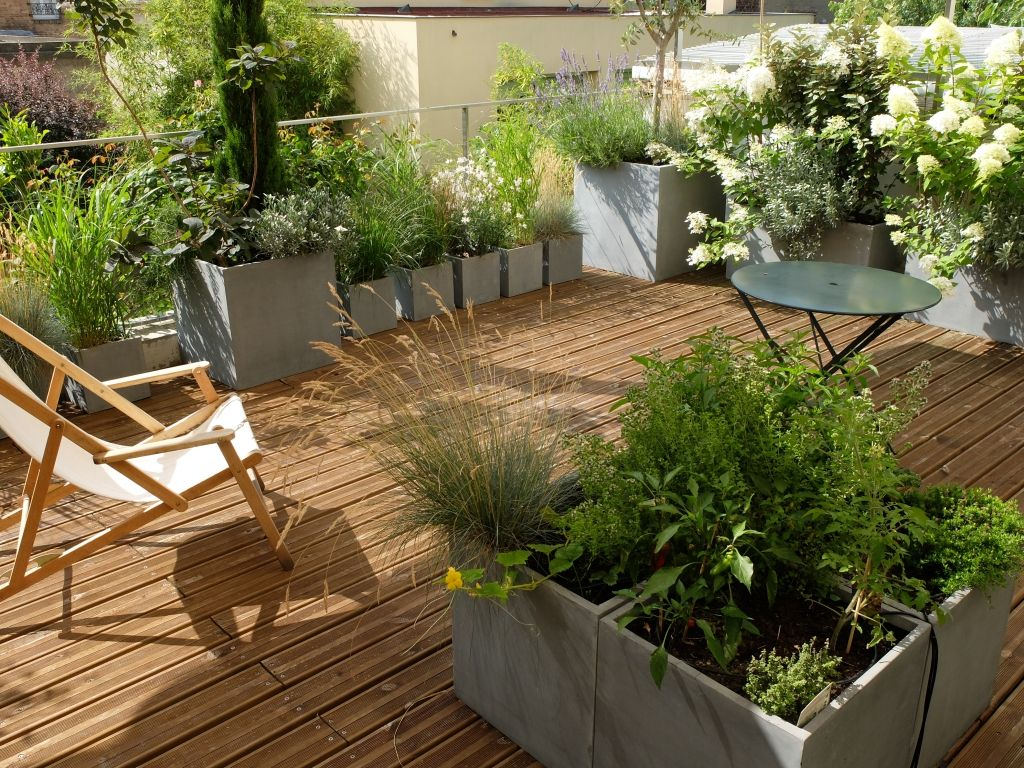 Projet am nagement paysager d 39 une terrasse paris paysagiste paris et terrasses for Amenagement de terrasse photos
