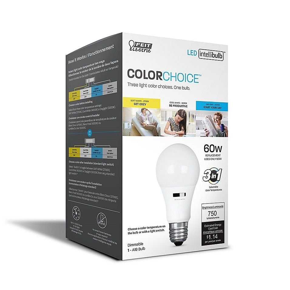 Feit Electric Single 10 Watt Led A19 Multicolor Temperature Changing Light Bulb In 2020 Light Bulb Led Bulb Packaging Bulb