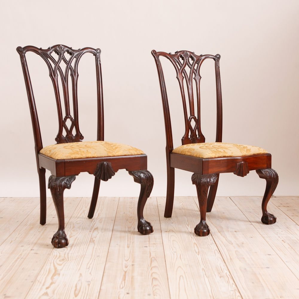 Pair Of Philadelphia Chippendale Style Chairs In Mahogany C 1870