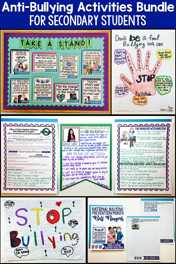 Anti Bullying Activities For Middle School Students Growing Bundle