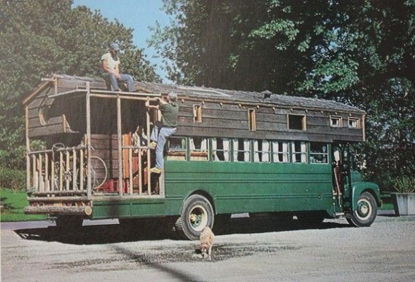 School bus campers for sale living off the grid in a school bus turned camper cabin tiny - The recreational vehicle turned cabin in the woods ...