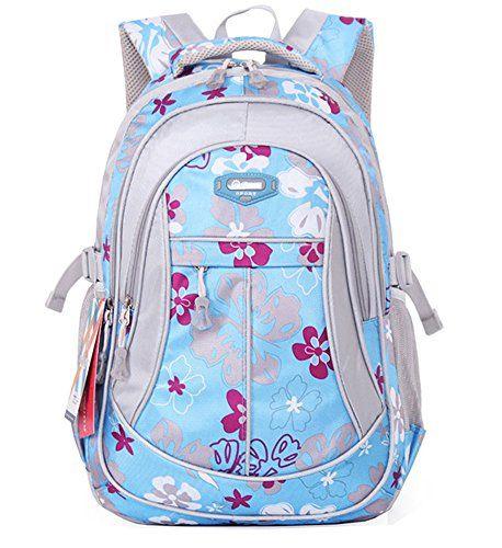 2fd5885b1a29 Eshops Flowers Pattern School Backpack for Girls Book Bag for College  Bookbag Sky Blue