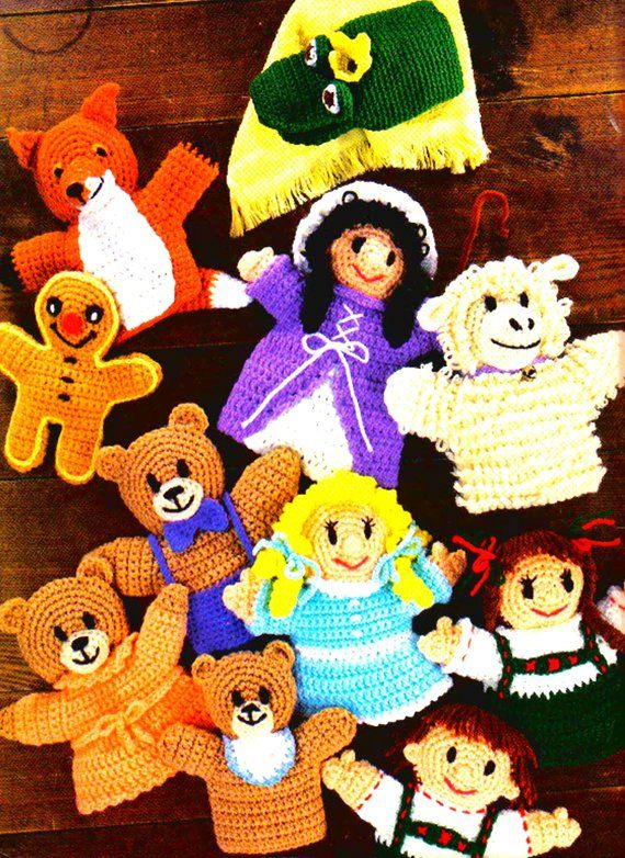 Vintage Crochet Pattern Story Book Puppets Glove Puppet
