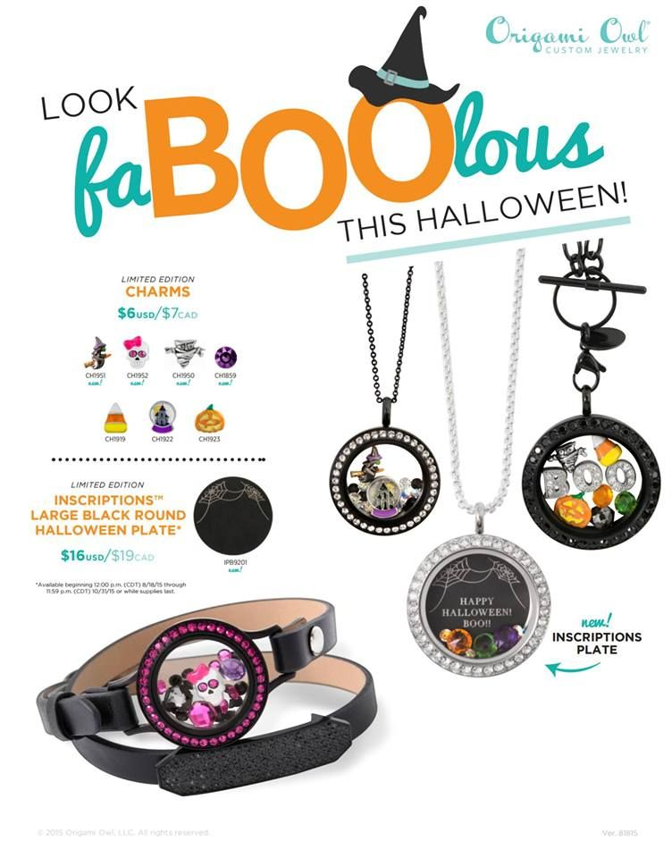 Halloween themed charms and lockets available now ~ www.createyourstory.origamiowl.com
