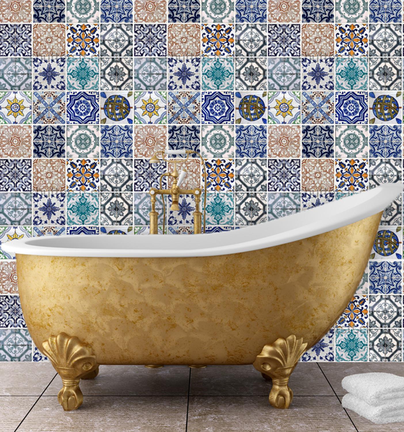 Mosaic tile wall mural Gold and shimmer Pinterest