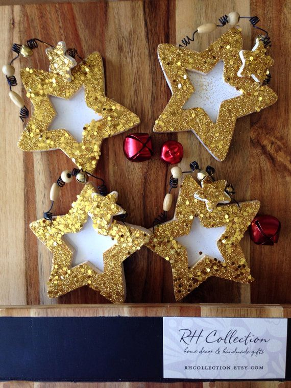 Shinning Star Frame Christmas Ornament Gold Glitter Wooden Star Ornament On Etsy 9 00 Christmas Ornaments Wooden Stars Star Ornament