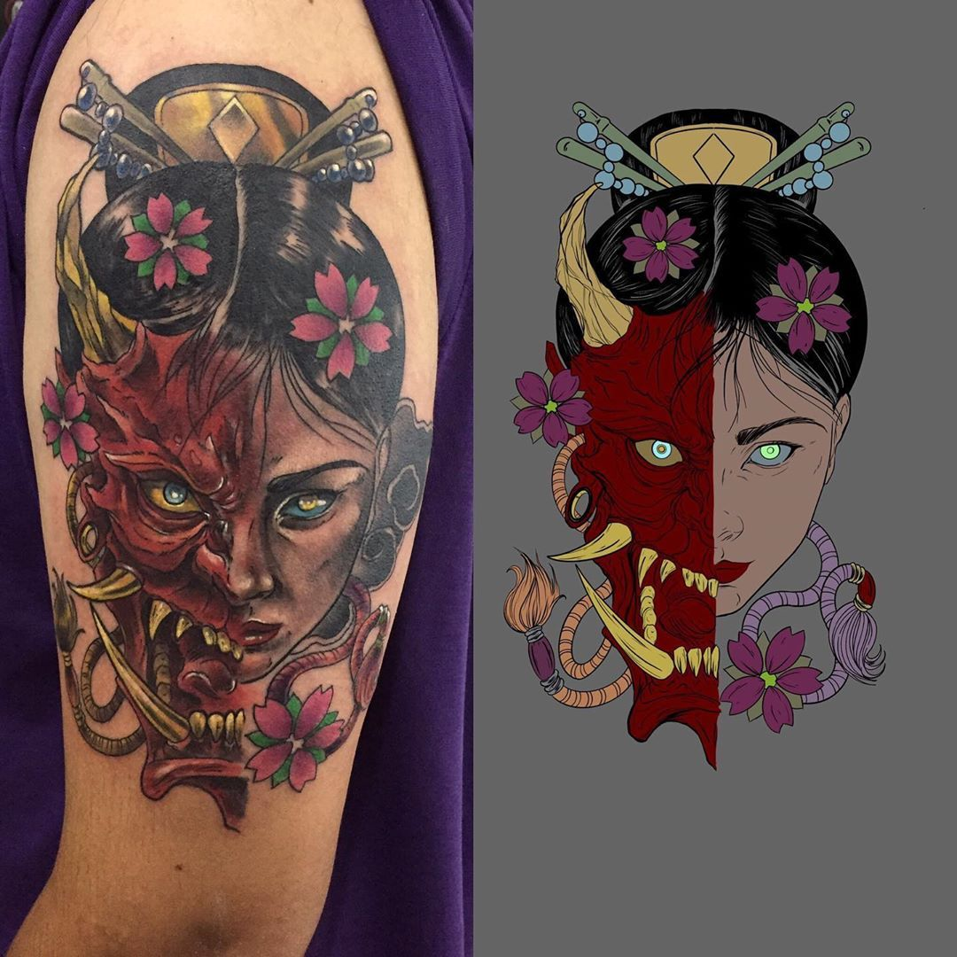 UPDATE 36 Powerful Hannya Mask Tattoos (May 2020) in 2020