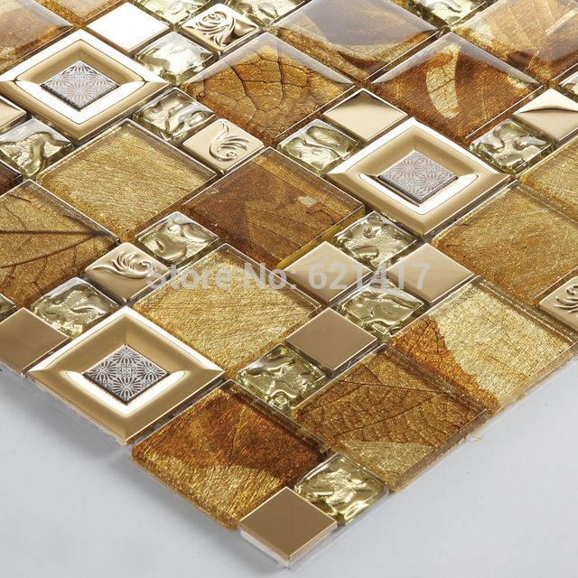 Glass Mixed Stainless Steel Mosaic Tiles Hmgm1136b For Mesh