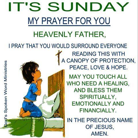 Facebook Sunday Prayer Inspirational Prayers Prayer For Today