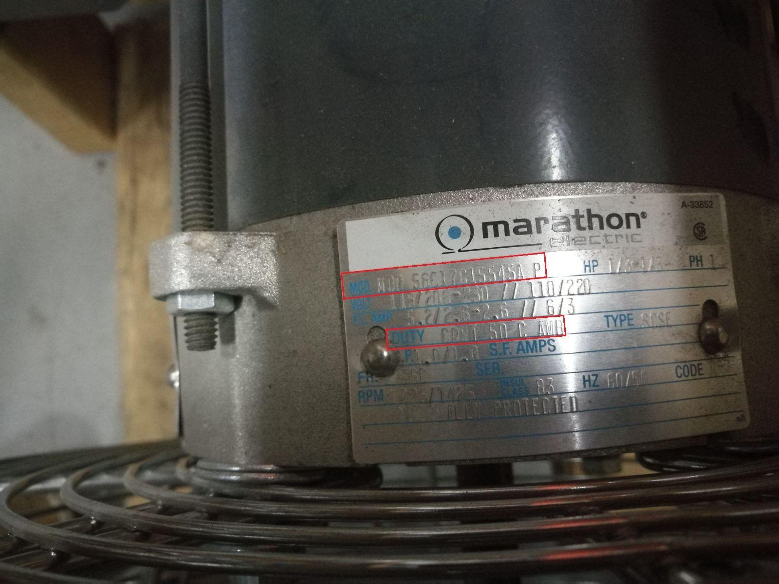 Marathon Electric 56C17G15545A motor for Canarm SD12XPF